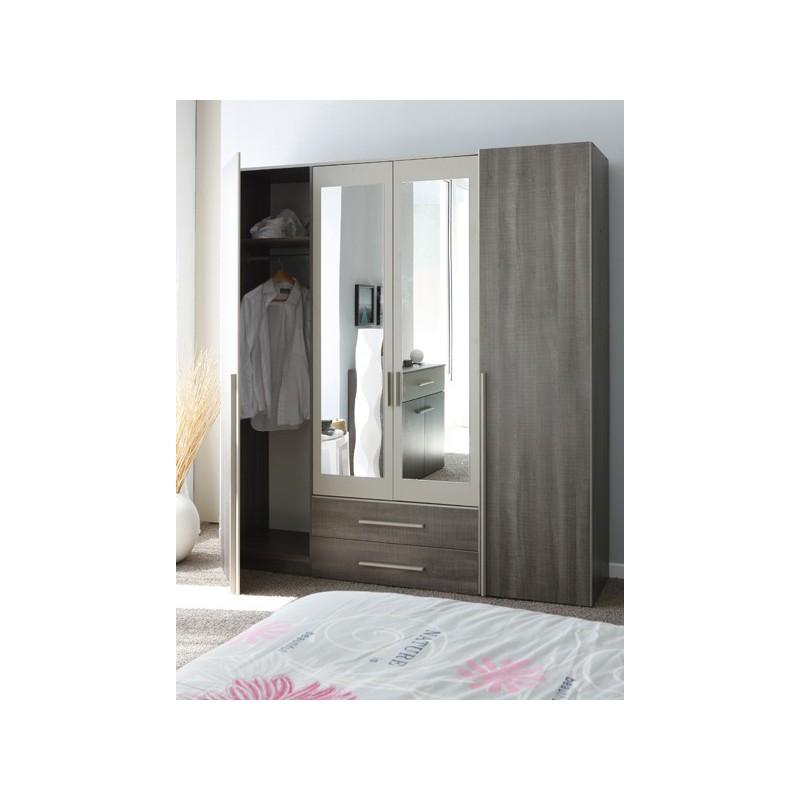 Armoire designe armoire 2 portes 1 miroir sofia - Armoire 2 portes miroir ...