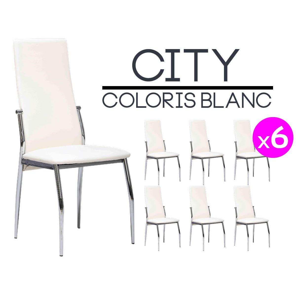City lot 6 chaises blanches neuf ebay - 6 chaises blanches ...