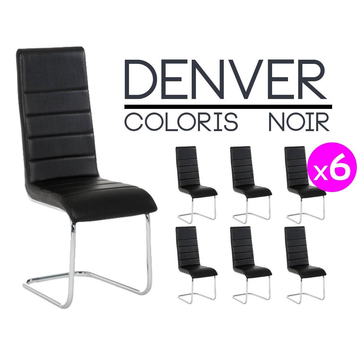 denver lot 6 chaises noires neuf ebay. Black Bedroom Furniture Sets. Home Design Ideas