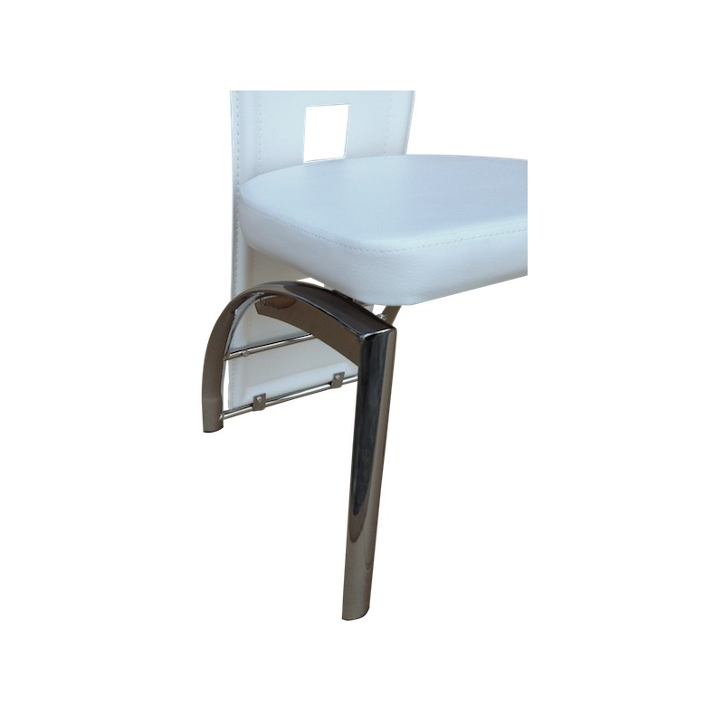 Enzo lot 4 chaises blanches pieds chrom s altobuy - Lot 4 chaises blanches ...