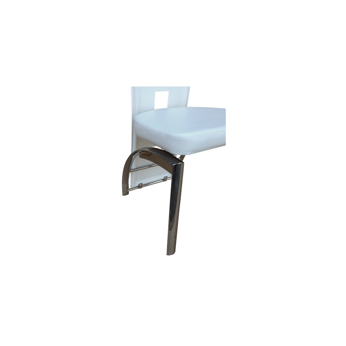 Enzo lot 6 chaises blanches pieds chrom s neuf ebay - 6 chaises blanches ...
