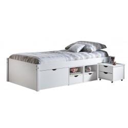 Alaska - Lit 90x200 cm multi-rangement Vernis Blanc