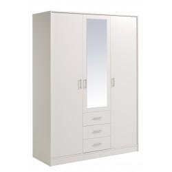 Universal Blanc - Armoire 3 Portes 3 Tiroirs