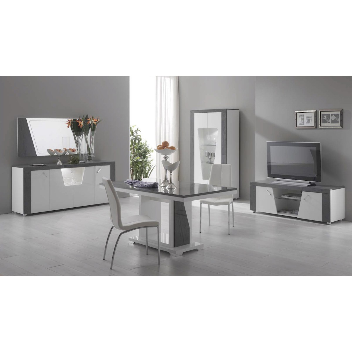 altobuy luna buffet 4 portes avec led neuf ebay. Black Bedroom Furniture Sets. Home Design Ideas