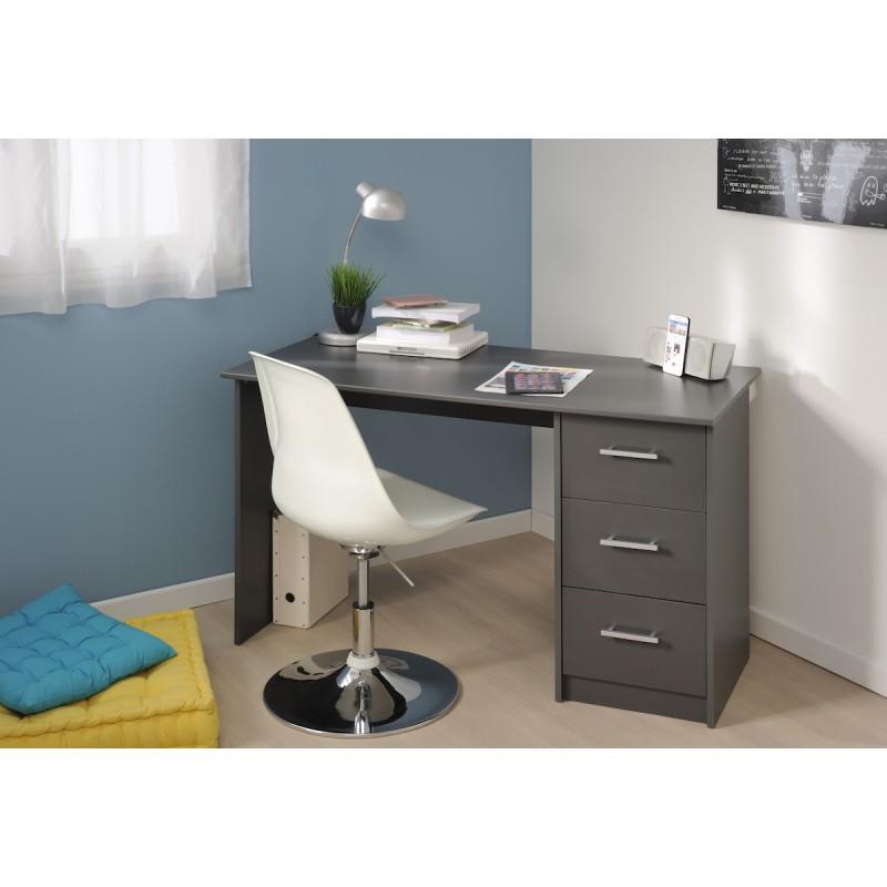 Universal gris bureau 3 tiroirs for Petit bureau gris