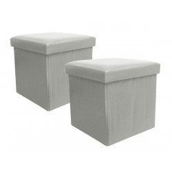 BOXX - Lot de 2 Poufs Coffres Gris