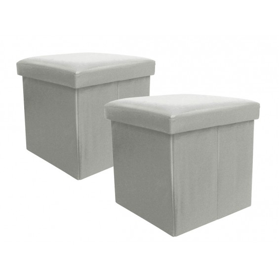 Boxx - Lot de 2 Poufs-Coffres Gris