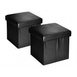 Boxx - Lot de 2 Poufs-Coffres Noirs
