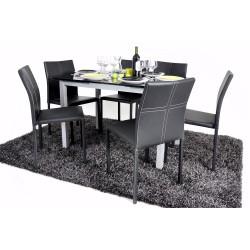 Extend - Ensemble Repas Table Noire + 6 Chaises Noires