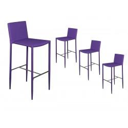 Loola - Lot de 4 Tabourets de Bar Violets