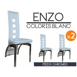 Enzo - Lot 2 Chaises Blanches Pieds Chromés