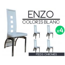 Enzo - Lot 4 Chaises Blanches Pieds Chromés