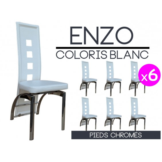 Enzo lot 6 chaises blanches pieds chrom s - Lot de 6 chaises blanches ...