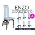Enzo - Lot 6 Chaises Blanches Pieds Chromés
