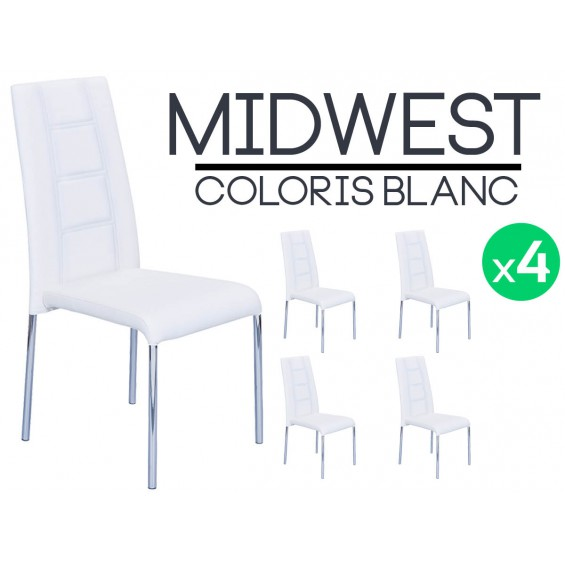 midwest lot de 4 chaises blanches. Black Bedroom Furniture Sets. Home Design Ideas