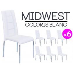 Midwest - Lot de 6 Chaises Blanches