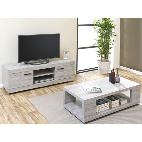 Tom ensemble table basse meuble tv for Meuble tv table basse ensemble