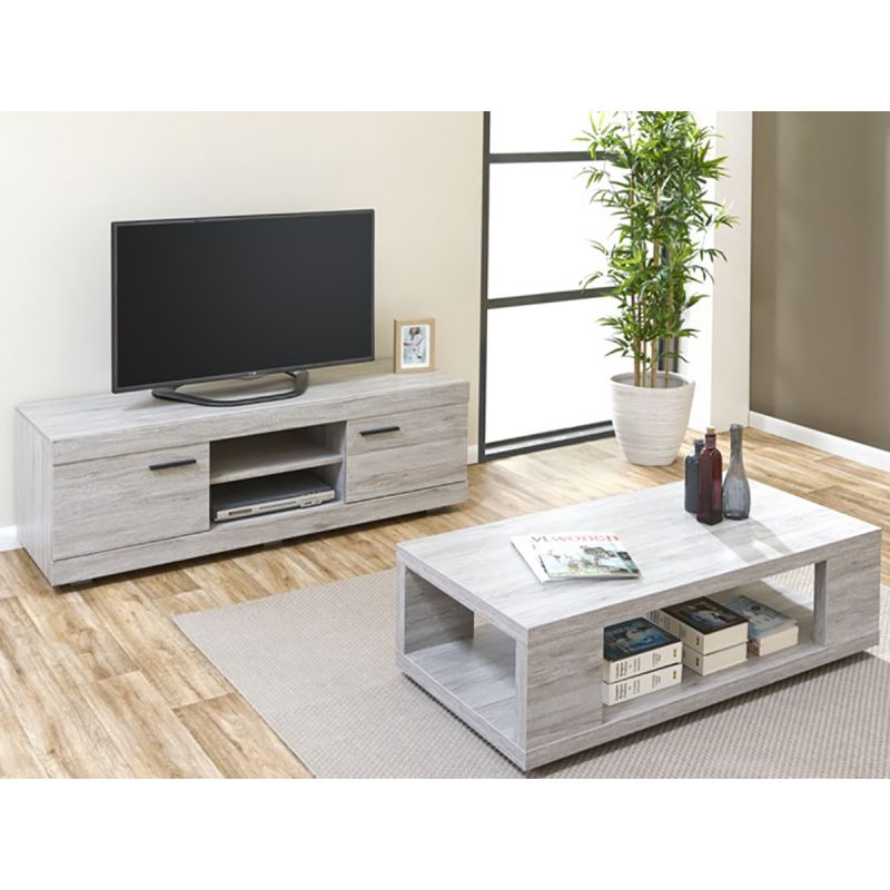 Meuble tv et table basse maison design for Meuble tv armoire