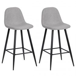 Bjorn - Lot de 2 Tabourets de Bar Gris