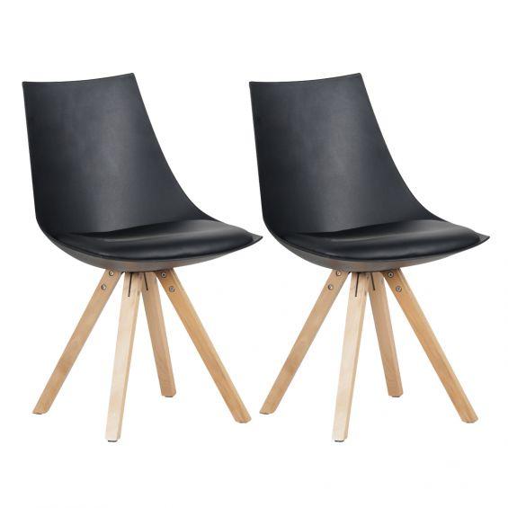 Hopen - Lot de 2 Chaises Noires