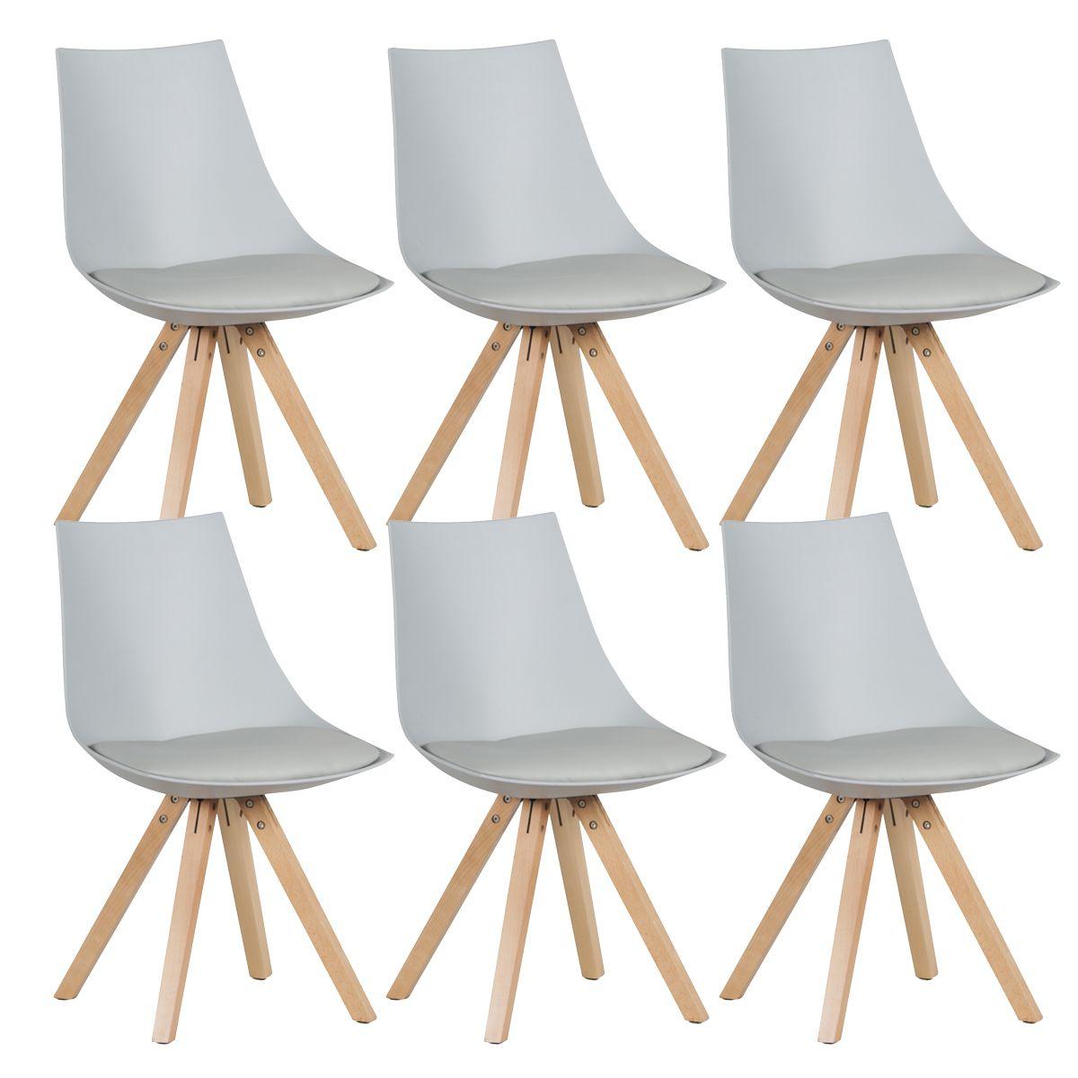 altobuy hopen lot de 6 chaises gris clair neuf ebay. Black Bedroom Furniture Sets. Home Design Ideas