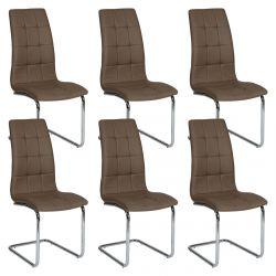 Cally - Lot de 6 Chaises Moka
