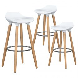 Eldir - Lot de 3 Tabourets de Bar Blancs