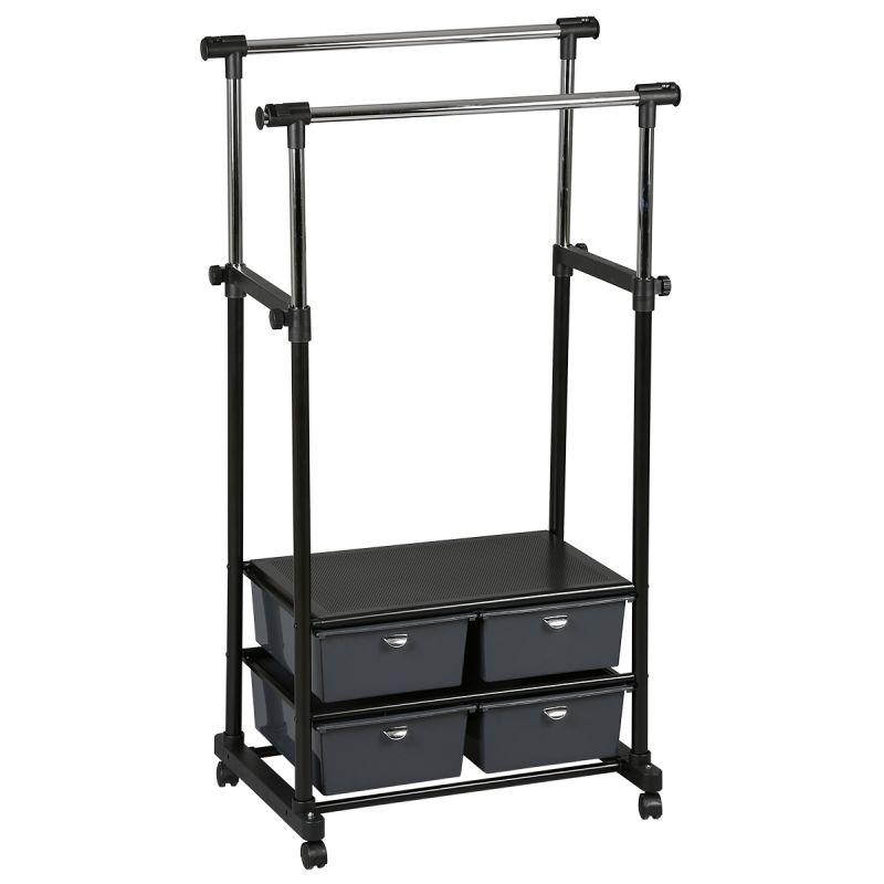 Perry portant double 4 tiroirs noir for Portant noir