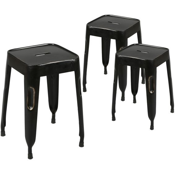 Tolga - Lot de 3 Tabourets Noirs