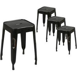 Tolga - Lot de 4 Tabourets Noirs