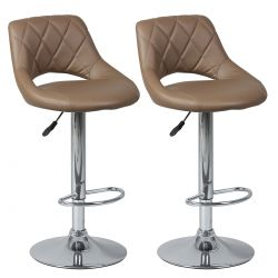 Hamilton - Lot de 2 Tabourets de Bar Marron