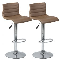 Davidson - Lot de 2 Tabourets de Bar Marron
