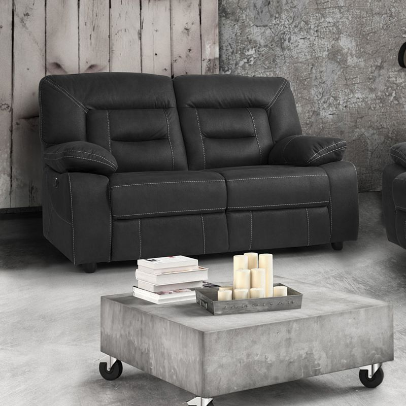 almeria canap relax electrique 2 places gris fonc. Black Bedroom Furniture Sets. Home Design Ideas