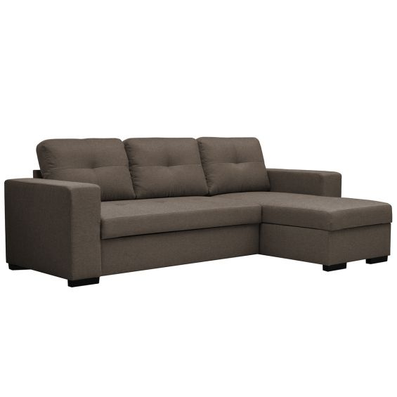 Clayton canap d 39 angle convertible taupe - Canape d angle convertible taupe ...