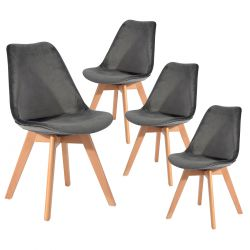 Fulvio - Lot de 4 Chaises Velours Gris