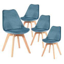 Fulvio - Lot de 4 Chaises Velours Bleu