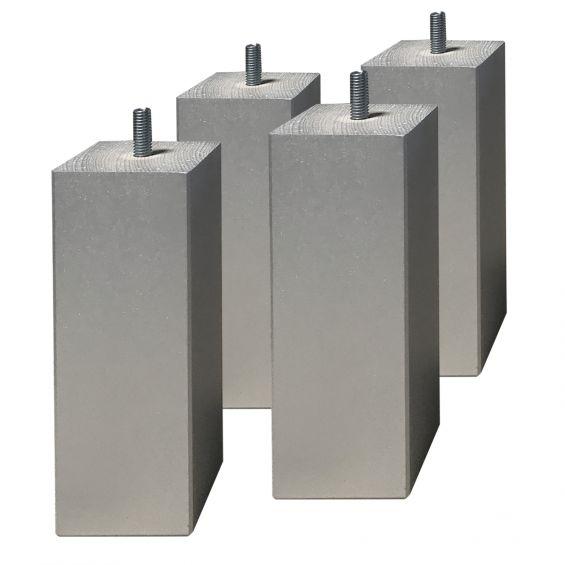 Jeu de 4 pieds carrés 15 cm gris argent pour sommier tapissier
