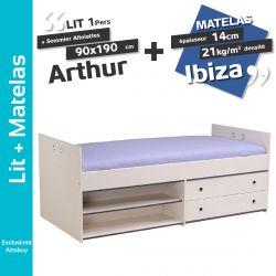 Arthur - Pack Lit 90x190cm + Sommier Altolattes + Matelas Ibiza