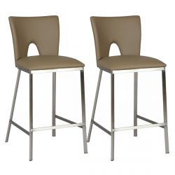 Catalia - Lot de 2 Tabourets Taupe