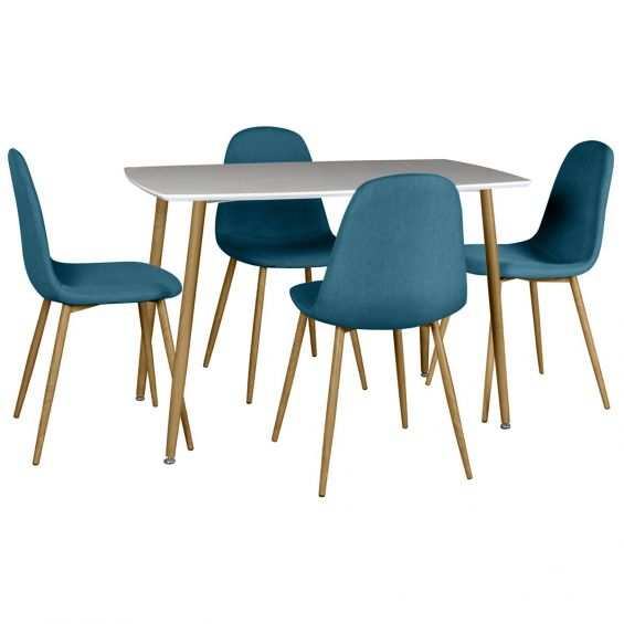 Winter - Ensemble Table + 4 Chaises Bleues