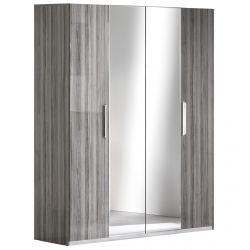 Betty - Armoire 4 Portes avec Miroir Central