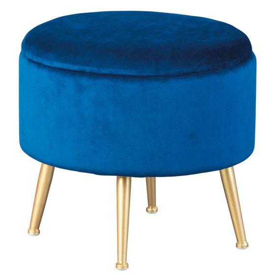 Wilda - Pouf avec Coffre de Rangement Bleu Nuit