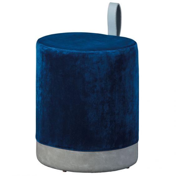 Opale - Pouf avec Lanière Bleu et Gris