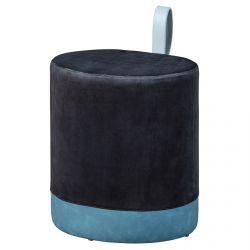 Opale - Pouf avec Lanière Noir et Bleu