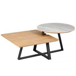 Evelina - Table Basse 2 Plateaux bi-matière