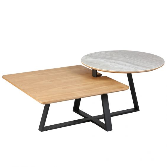 Table Basse 2 Plateaux.Evelina Table Basse 2 Plateaux Bi Matiere