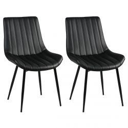 Carolann - Lot de 2 Chaises Noires Métal et PVC
