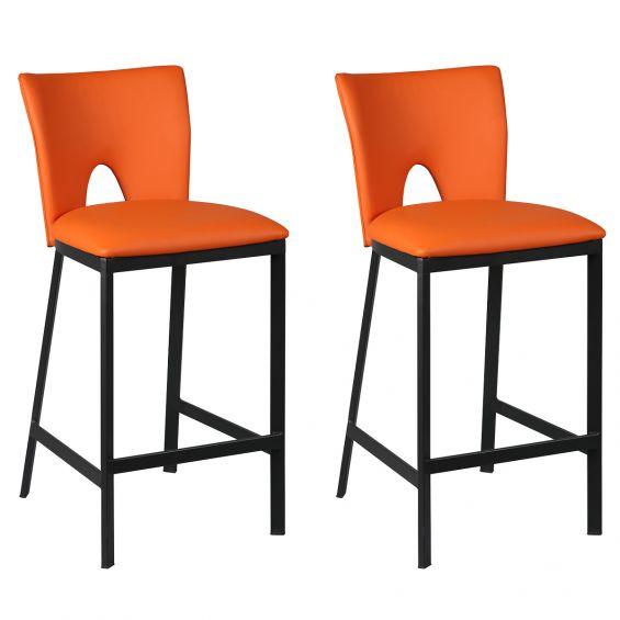 Catalia - Lot de 2 Tabourets Métal Noir et Simili Orange