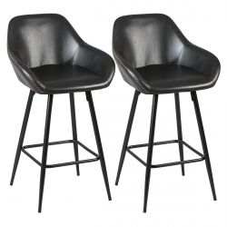 Thome - Lot de 2 Tabourets de Bar Simili Noir