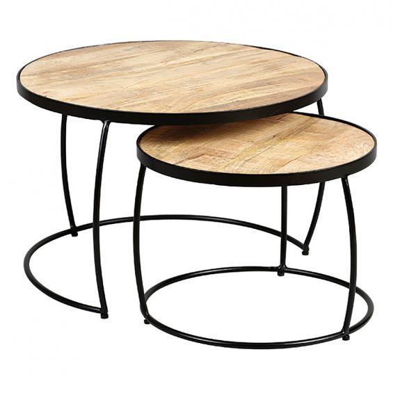 Table Basse Gigogne Bois.Gizem Lot De 2 Tables Basses Gigognes Metal Et Bois